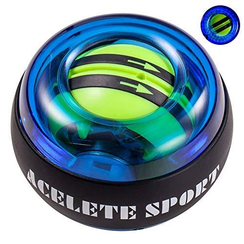 ACELETE Auto-Start 2.0 Power Ball Wrist Trainer Ball Forearm Exerciser Wrist Strengthener Workout Toy Spinner Gyro Ball with LED Lights