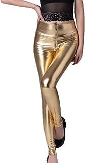 Janisramone Mujeres Se/ñoras Nuevo Brillante Americano Met/álico Flaco Disco Polainas Mojado Mira Tramo Pantalones