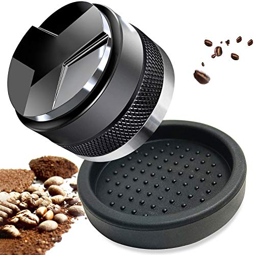51mm Coffee Distributor & Tamper, Zaldia Espresso Coffee Leveler with Silicone Tamper Mat,Fits 51mm Delonghi Dedica Portafilter,Both Sides Adjustable Depth - Professional Espresso Hand Tampers (51mm)
