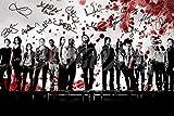 N.º 5 - Póster firmado por elenco de The Walking Dead, tamaño A4, diseño de sangre, 30,5 x 20,3 cm
