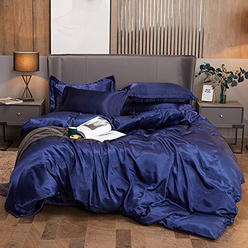BIANXU Juego de ropa de cama de satén de seda para el hogar, tamaño king, ropa de cama, funda de edredón, sábana encimera, fundas de almohada, tamaño king 4 piezas