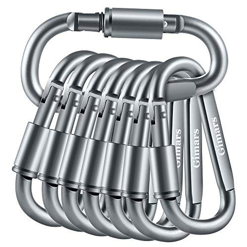 Gimars 10 Pack 3 Improved Durable Screw Locking & Spring Gate D Shape Aluminum Carabiners Clips Hook for Home, Rv, Camping, Fishing, Hiking and Traveling