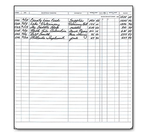 """Large Format Check Registers for Executive Deskbook Checks, 8 x 9"""" Pack of 5 registers -"""