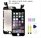 Screen Replacement Compatible with iPhone 6 4.7 inch Full Assembly - LCD Touch Display Digitizer with Ear Speaker, Sensors and Front Camera, Fit Compatible with All iPhone 6 (Black)
