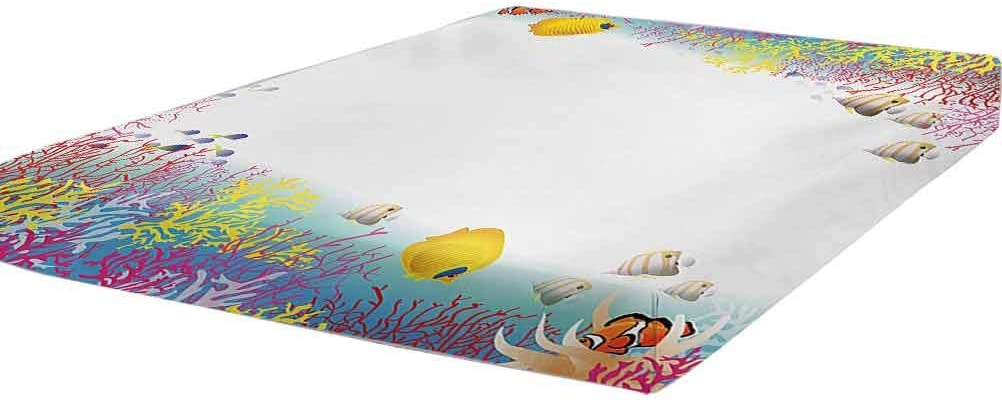 Kids lowest price Bedding Fitted Sheet Twin Nautical Size Aquatic famous Illustratio