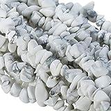 KYEYGWO - Perlas de chakra irregulares, piedras curativas pequeñas, grava para bricolaje, fabricación de joyas y collar, 33 pulgadas, howlita turquesa, blanco