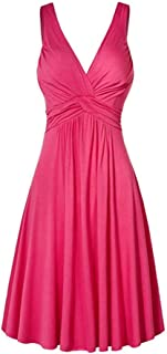 Respctful✿Women Plus Size Dress Casual A Line Swing Cocktail Party Dress Sleeveless T-Shirt Loose Dress