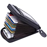 MaxGear Credit Card Wallet with Zipper, Genuine Leather RFID Credit Card Holder for Women Ladies...