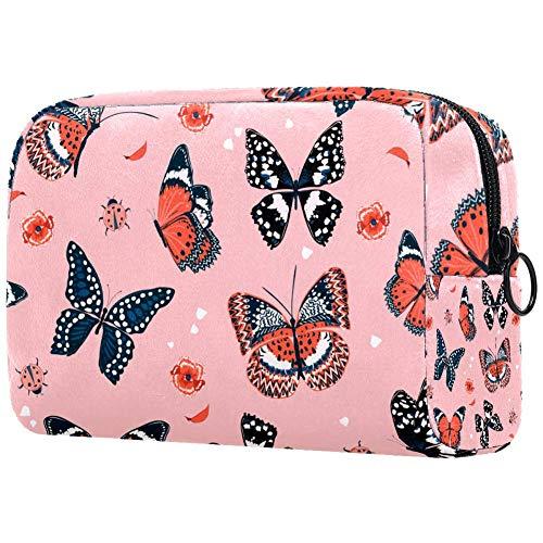 Trousse de toilette pour femme Motif papillons et fleurs Rose