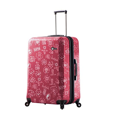 Mia Toro Love This Life-Medallions Hardside 28 Inch Spinner, Red
