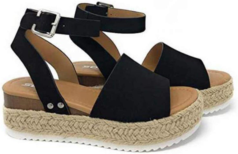 Enfei Women Open Toe Ankle Braid Strap Straw Platform Sandals Adjustable Buckle Wedge Rubble Sole Summer shoes Cute Espadrille