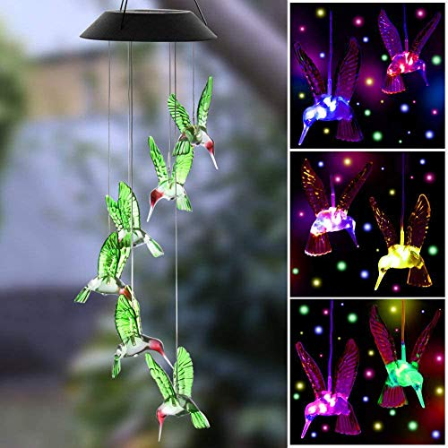 KUAHAIHINTERAL Wind Chime Outdoor Led Solar Powered Wind Chimes for Home/Party/Yard/Mother Day Yard Decoration Gifts