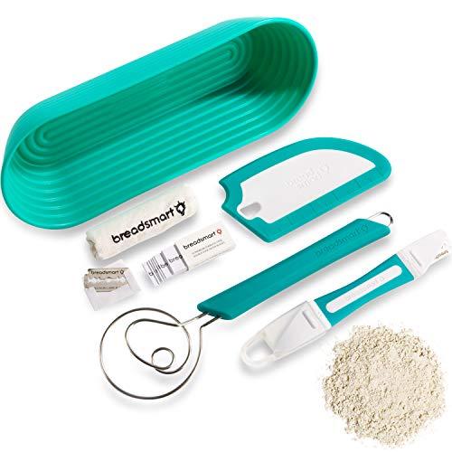 Breadsmart Artisan Bread Making Kit - 5 PC Baking Supplies Set - Lame, Scraper, Whisk, Proofing Basket & Cotton Liner - Teal