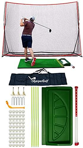 SharperGolf Pro Model Premium Golf Net and Mat Set with Golf Hitting Net and Golf Hitting Mat, 10x7ft Golf Hitting Net, 3x5ft Golf Hitting Mat, Golf Accessories
