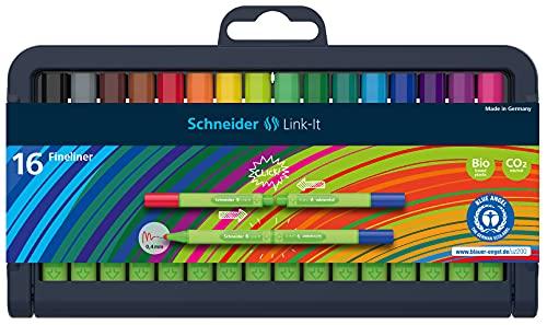 シュナイダー Schneider カラーペン カラーマーカー リンクイット Link-It ファインライナー 16色セット 191292 ペン先サイズ:0.4mm 極細