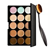 ArRord Pro 15 Colors Cosmetics Cream Contour and Highlighting Makeup Concealer Palette + Foundation Powder Brush Kit