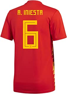 adidas A. Iniesta #6 Spain Home Men's Soccer Jersey World Cup Russia 2018