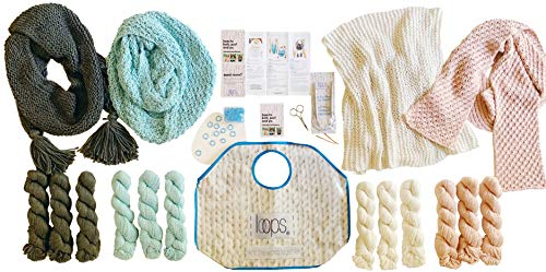 Knitting Super Starter Kit for Beginners: Everything You Need to Make Your First 4 Projects | Includes Patterns w/Video Tutorials | Features Loops Luxe Chunky Royal Alpaca Yarn | Learn to Knit Kit