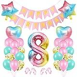 Palloncini Compleanno 8 Anno, Foil Palloncini Numeri 8 Rosa,Rosa Palloncino Numero 8, Palloncini Primo Pompleanno 8, Compleanno Numero 8, Feste Decorazione di Compleanno Lattice Coriandoli Palloncino