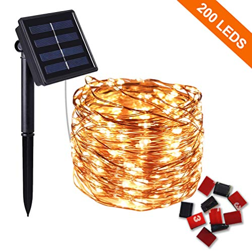 Solar Lights Outdoor String,COOIDEA 20m 200 LED Solar String Lights Garden 8 Modes Waterproof Copper Wire Fairy Lights Decorative String Lights for Patio, Gate, Yard, Wedding, Party (Warm White)
