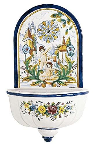 Casa Padrino Fuente de Pared Art Nouveau de Lujo Blanco/Multicolor 62 x A. 104 cm - Fuente de...