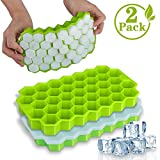 Ice Cube Trays, WETONG 2 Pack Silicone Ice Cube Molds with Lid Flexible 74-Ice Trays BPA Free, for...