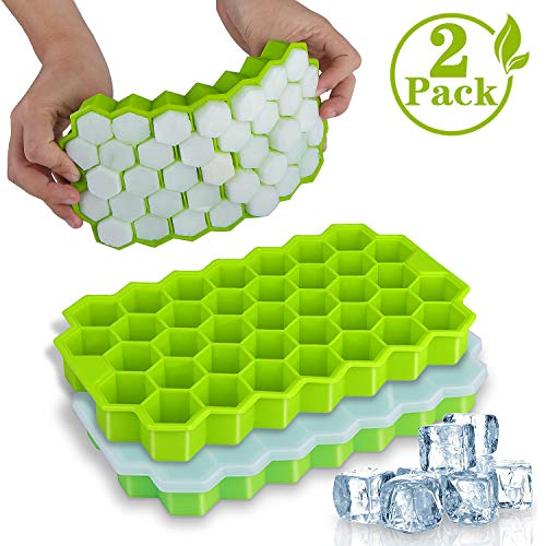 Ice Cube Trays, WETONG 2 Pack Silicone Ice Cube Molds with Lid Flexible 74-Ice Trays BPA Free, for Whiskey, Cocktail, Stackable Flexible Safe Ice Cube...