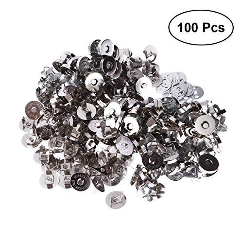 HEALLILY 100 Piezas Cierre de Botón Magnético Broches de Monedero Redondo Broches de Presión Botones de Costura Artesanales de Bricolaje para Bolsos de Bolsos de Artesanía de Costura