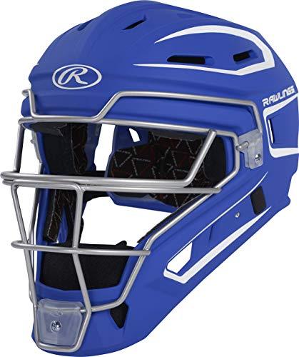 Rawlings Velo Series 2.0 Two-Tone Baseball Catcher's Helmet, Matte Royal and White, Junior