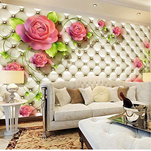 Aangepaste fotobehang van elke grootte Moderne mode rode roze bloem muurschildering behang slaapkamer woonkamer sofa achtergrond behang -140cmx100cm