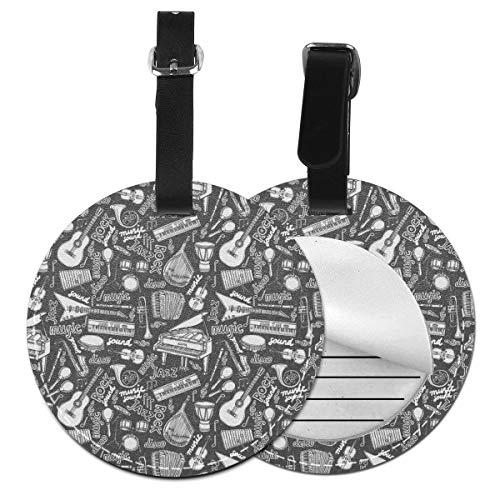 Rock Music Instruments - Juego de etiquetas para maleta de piel personalizada, accesorios de viaje, etiquetas redondas para equipaje Negro Negro 2 PC
