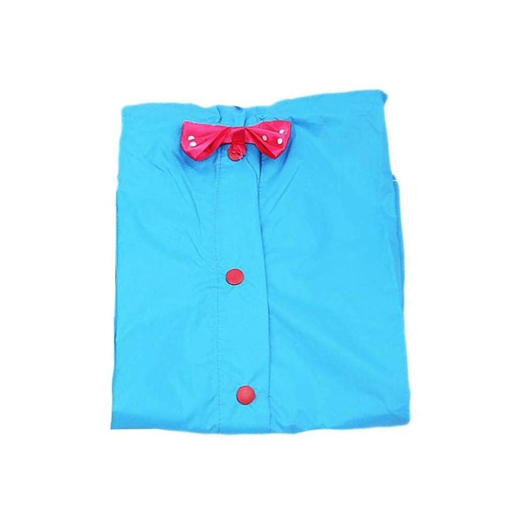 飾り羽アクティブ負レインポンチョ キッズ ポンチョ 子供用かわいい リボンカッパ 雨具ブルー