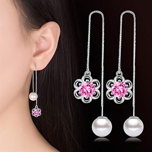 TLBB Pendientes de Gota de Perlas de Lujo Pendientes de Cristal Piedra Larga Tassel Pendientes Pendientes para Mujer Joyería de Boda Pendientes de Compromiso (Metal Color : Pink)