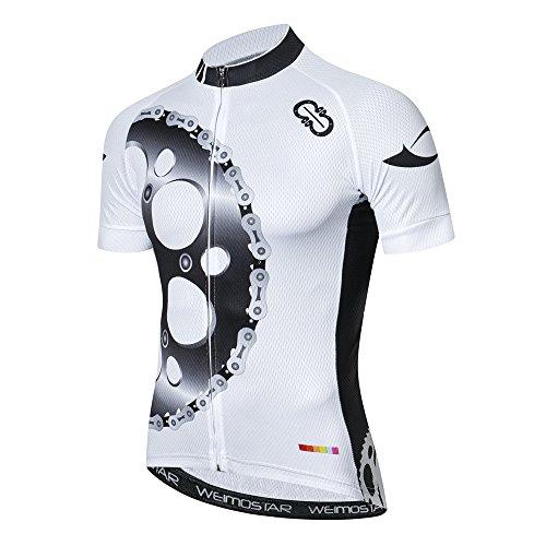 Jpojpo Radtrikot, Herren-Sportshirt, bequem, für Jugendliche, Outdoor, Mountainbike-Kleidung, Herren, CD5110, Gear Weiß, XXL(Ht69-73