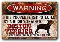 警告ボストンテリア錫サイン壁の装飾金属ポスターレトロプラーク警告サインオフィスカフェクラブバーの工芸品