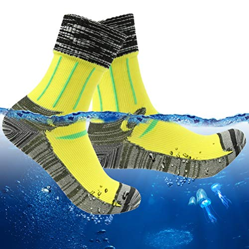 RANDY SUN Waterproof Socks for Fishing, Men's Hiking Performance Bright Color Socks Winter Thermal Socks 1 Pair (Yellow,Large)