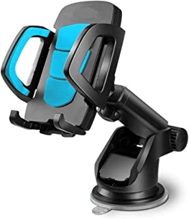 LilBit Car Phone Mount, Universal Long Arm Windshield Mobile Phone Cradle with Suction Cup for 3.5-6.5 inch Smartphone GPS, Black and Blue