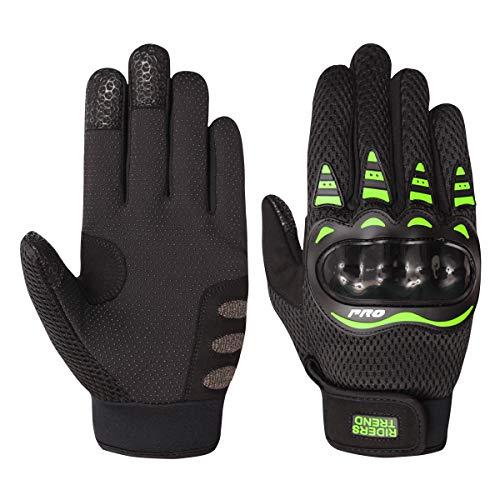 Riders Trend Herren 10010108 Cross Country/Motocross Pro-Biker Full Finger Motorcycle Racing Cycling Gloves Handschuhe, schwarz/grün, XL