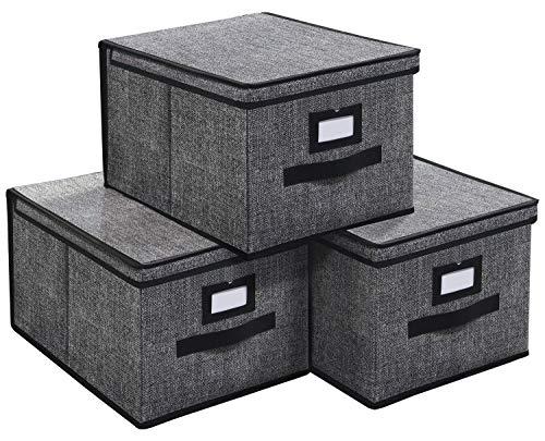 homyfort Set de 3 Cajas de Almacenaje, Cubos de Tela, Organizador Plegable con Tapa y Ventana de Etiqueta, para Estantes, Dormitorio, Oficina, Guardería, 40 x 30 x 25cm, Negro Lino, XALB40P3