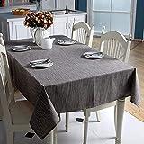 GTWOZNB Nappe en Polyester Lavable résistante aux Plis – Nappe de Table pour Mariages, Rectangle uni Simple en Coton et Lin-Marron_140 x 200