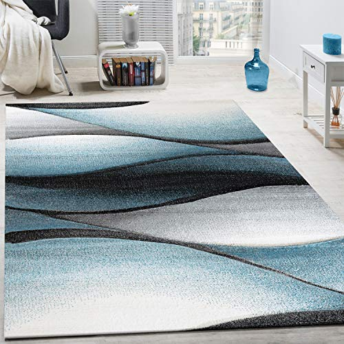 Paco Home Tappeto di Design Moderno Astratto Effetto Onde Taglio Sagomato Grigio Turchese, Dimensione:160x230 cm