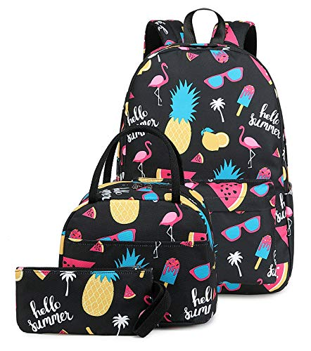 School Backpacks set for Girls Backpack Cute Pineapple Bookbags with Insulated Lunch bag Kids Casual Daypack Pineapple Flamingo