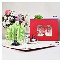 Runzhi003 ポップアップフラワーカードフローラ3Dグリーティングカード誕生日の母親の父の日の卒業結婚記念日によく同情する グリーティングカード (Color : Willow lover)