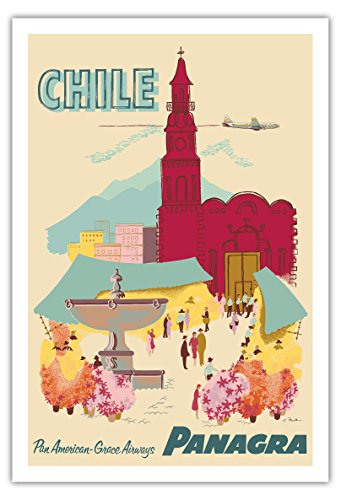 Pacifica Island Art Chile-Plaza de Armas-Santiago-Panagra (Pan American Grace Airways)-Cartel del Viaje del Vintage de la aerolínea por C. Bush c.1955-Fine Art Print-30 x44in