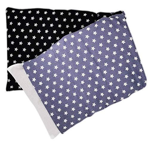 Aminata Balance Körnerkissen 60x20 cm Mikrowelle groß für Nacken, Schulter & Rücken Raps-Samen-Körner-Kissen Wärme-Kissen - Stern-Motiv für Damen, Frauen & Mädchen - abnehmbarer Wende-Bezug
