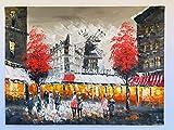 Cuadro de pintura al óleo sobre lienzo – Pintado a mano – Diseño de molino rojo y calles de París – Gran tamaño 30/40 cm – sobre marco rígido de madera