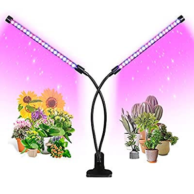 Grow Light, Ankace 40W Dual Head Timing 36 LED 5 Dimmable Levels Plant Grow Lights for Indoor Plants with Red Blue Spectrum, Adjustable Gooseneck, 3 6 12H Timer, 3 Switch Modes