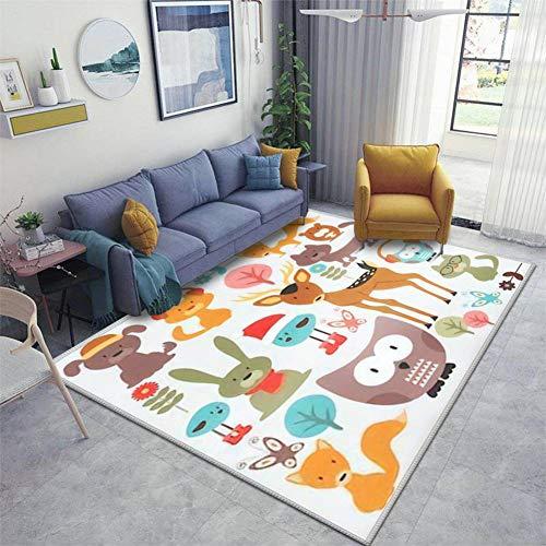 Set of Various Cute Animals Area Rugs Floor Mat Non Slip Throw Rugs Soft Door Mat Nursery Carpet for Living Room Home Indoor Outdoor Runner Rugs Yoga Mat