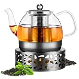 Teekanne mit Stövchen Set, Mture 1200ml Teebereiter Borosilikatglas Teeservice und Teewärmer Teekanne Suit mit Edelstahl Siebeinsatz für schwarzen Tee grüner Tee Fruchttee duftender Tee