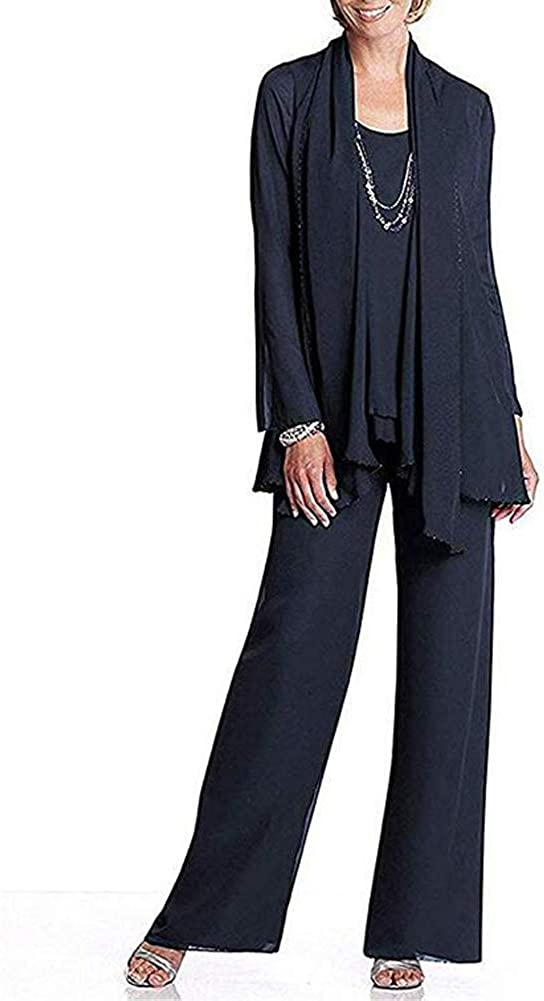 Women's Chiffon Mother of The Bride Dress 3 Piece Pants Suit with Jacket